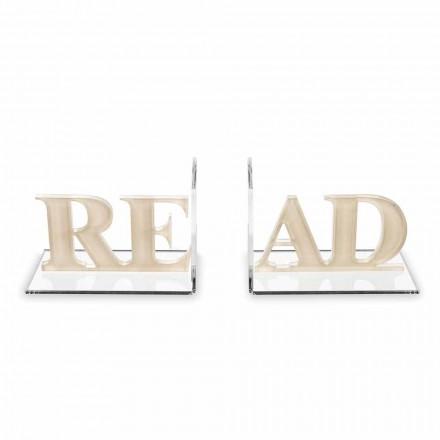 Zarážky do knihy v béžovém nebo bílém plexisklovém designu - Feread