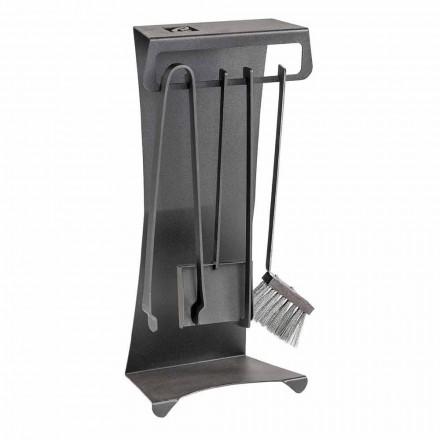 Sada 4 designových ocelových krbových nástrojů Made in Italy - Chandler