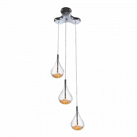Závěsná lampa se 3 nebo 4 světly z borosilikátového skla a hrušek z kovu
