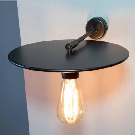 Ručně vyrobená nástěnná lampa z černého železa nebo povrchové úpravy Corten vyrobená v Itálii - Ufo