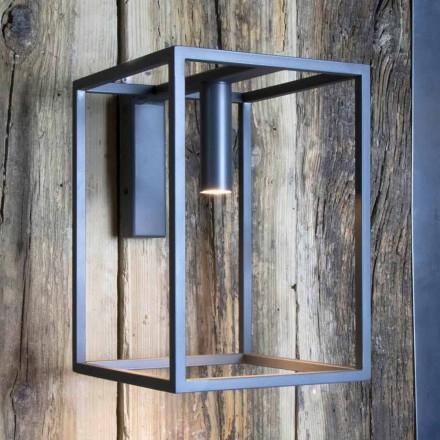 Venkovní nástěnná lampa ze železa a hliníku s LED Made in Italy - Cubola