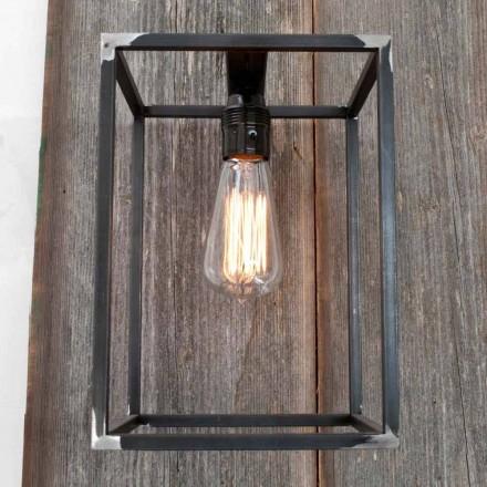 Ručně vyráběná nástěnná lampa s černou železnou strukturou vyrobená v Itálii - Cubola