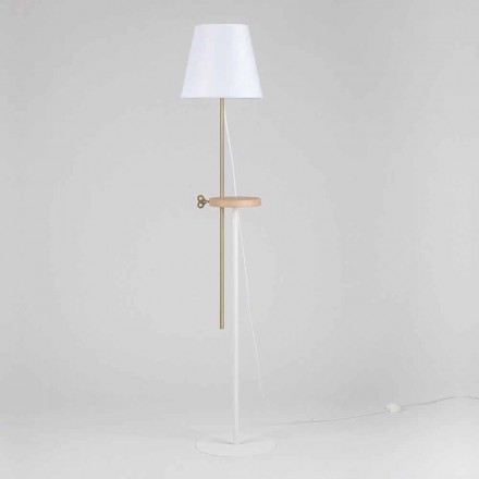 Designová lampa z oceli, jasanu a mosazi vyrobená v Itálii - Pitulla