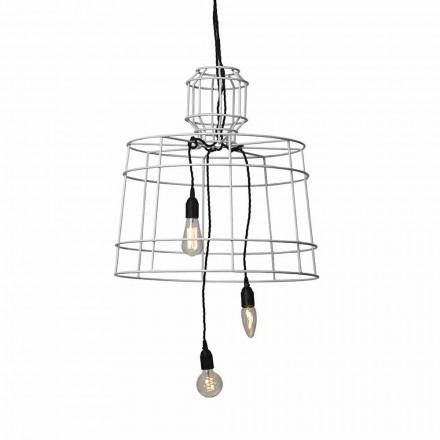 Závěsná lampa 3 světla v bílém nebo přírodním kovovém provedení - stylus