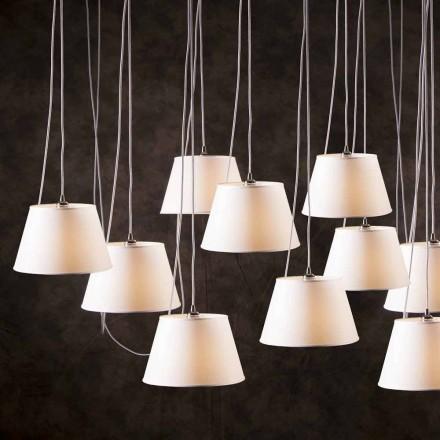 Závěsná svítilna s 12 osvětleními s bílým chromovým reproduktorem