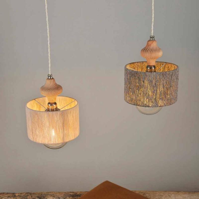 2 svítící závěsná svítilna s dřevěnou vložkou Bois