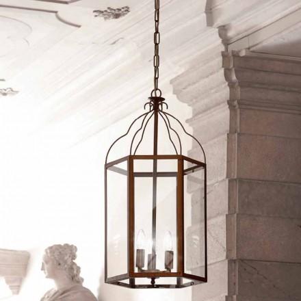 Závěsná lampa 3 světla mosaz a sklo Turandot