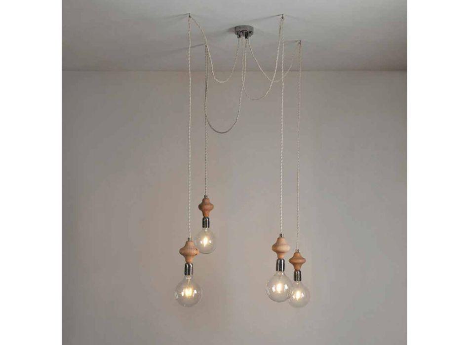 4 svítící svítilna s dřevěným prvkem Bois