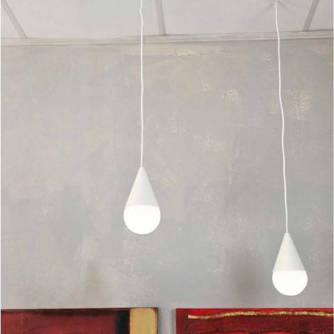 Bílá závěsná lampa se dvěma světly Drop, moderní design