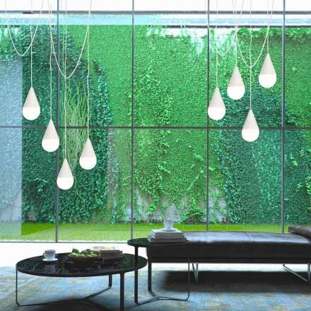 Závěsná svítilna v bílé barvě s 8 osvětleními Drop, moderní design