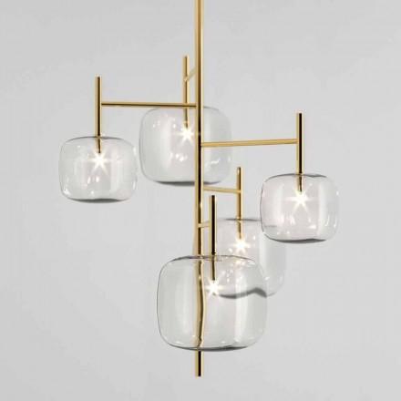 Závěsná lampa s lesklou kovovou strukturou vyrobená v Itálii - Donatina