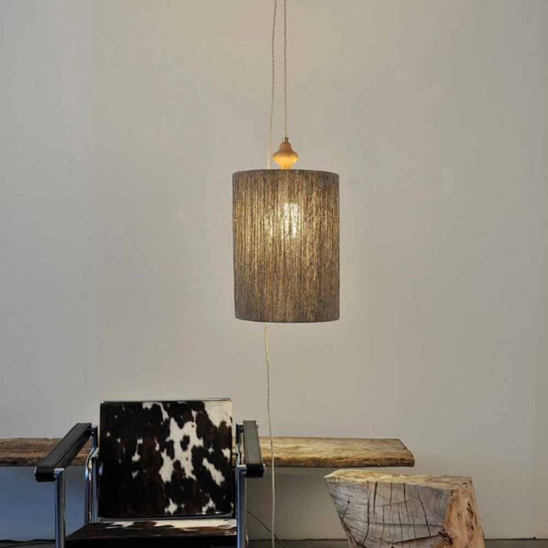 Přívěsná lampa / stojací lampa ve dřevě a 100% Bois vlna