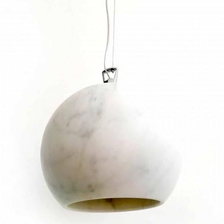 Designová závěsná lampa v bílém mramoru Carrara vyrobená v Itálii - Panda