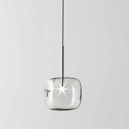 Designová závěsná lampa z kovu a skla vyrobená v Itálii - Donatina