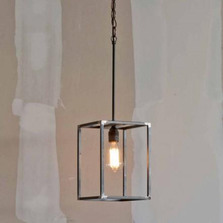 Ručně vyrobená železná závěsná lampa s řetízkem vyrobená v Itálii - Cubola