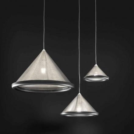 Závěsná lampa z nerezové oceli a keramiky - Tamiso Aldo Bernardi
