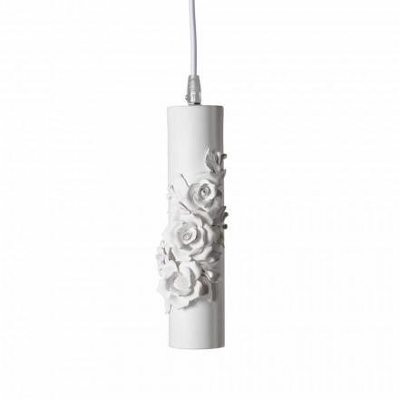 Závěsná lampa z matně bílé keramiky s dekorativními květinami - revoluce