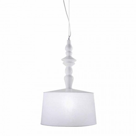 Závěsná lampa z bílé keramiky. Shade in Linen Short Design - Cadabra