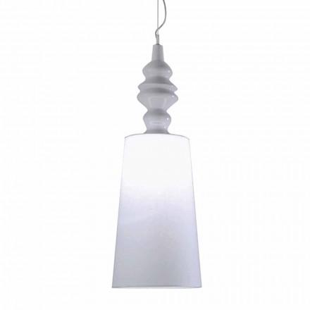 Závěsná lampa v bílé keramické stínítko v provedení Linen Long - Cadabra