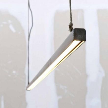 Závěsná lampa ze železa a lana s integrovanou LED Made in Italy - Stecca