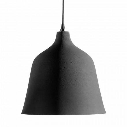 Závěsná lampa z antracitové kameniny a bílý design interiéru - Edmondo
