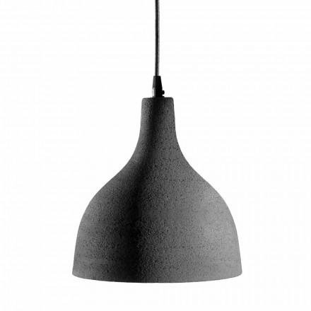 Závěsná lampa v antracitové kameniny a bílém smaltovaném interiéru - Edmondo