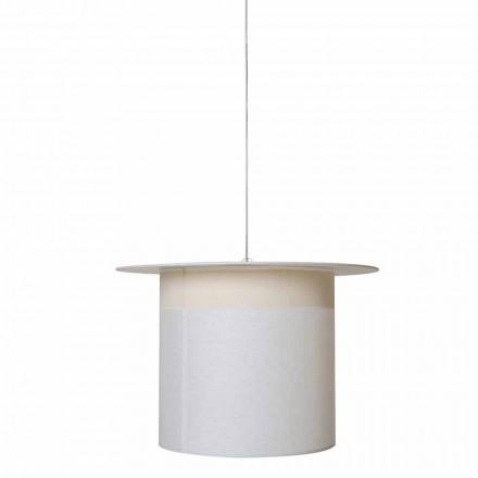 Válcová závěsná lampa z bílého lnu, vyrobená v Itálii - magická