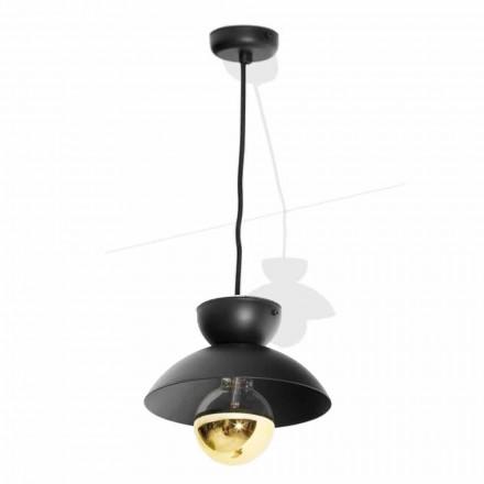Kovová závěsná lampa s moderním zlatým detailem vyrobená v Itálii - Valta