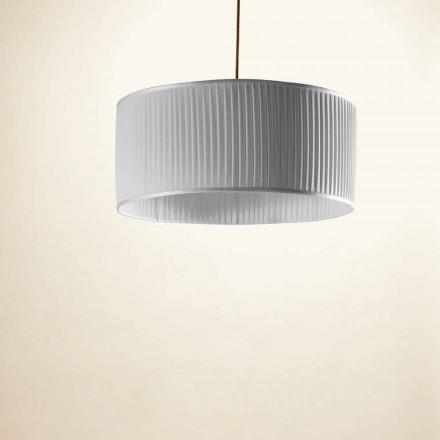 Přívěsná lampa v hedvábí, šedá, bambus