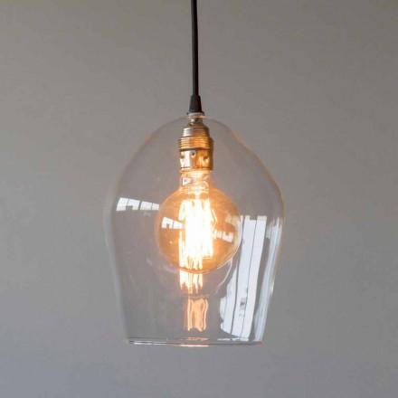 Závěsná lampa ze skla a železa s bavlněným kabelem vyrobená v Itálii - Bisma
