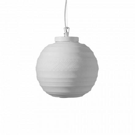 Závěsná lampa z bílého saténového skla ve 2 designových velikostech - Morse
