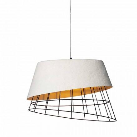 Závěsná lampa v bílém laminátu a kovovém elegantním designu - solární