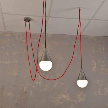 Moderní závěsná lampa se 2 světly s červeným kabelem Chrome