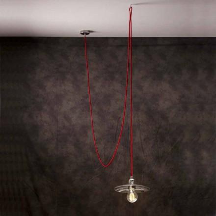 Moderní závěsná lampa s červeným hedvábným kabelem