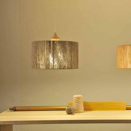Moderní závěsná lampa s dřevěným prvkem Bois