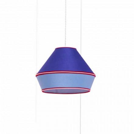 Moderní závěsná lampa se stínidlem z modré bavlny vyrobená v Itálii - sója