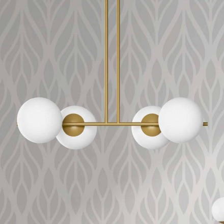 Moderní závěsná lampa z kovu a bílého skla vyrobená v Itálii - Carima