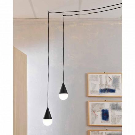 Moderní závěsná lampa, černý model Drop