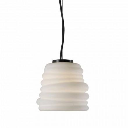 Závěsná lampa do obývacího pokoje v bílém saténovém skle, 3 rozměry - měkká