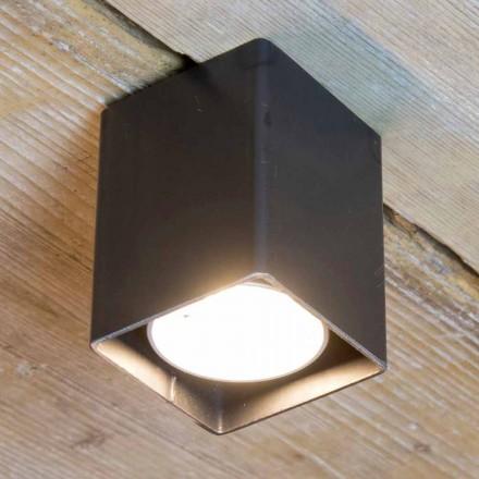 Řemeslná lampa z černého železa s kubickým tvarem vyrobená v Itálii - Cubino