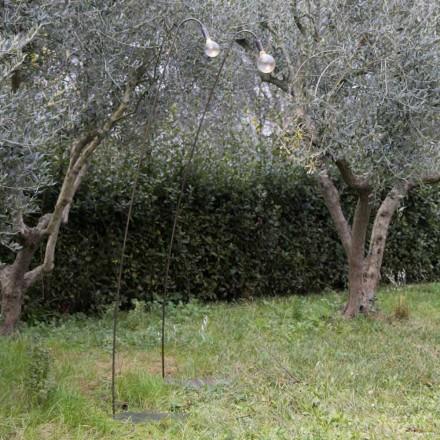 Řemeslná venkovní lampa ze železa a dekorativního skla vyrobená v Itálii - Beba