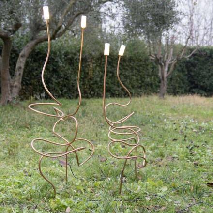 Venkovní lampa z přírodní mědi s dekorativním sklem vyrobená v Itálii - Fusillo
