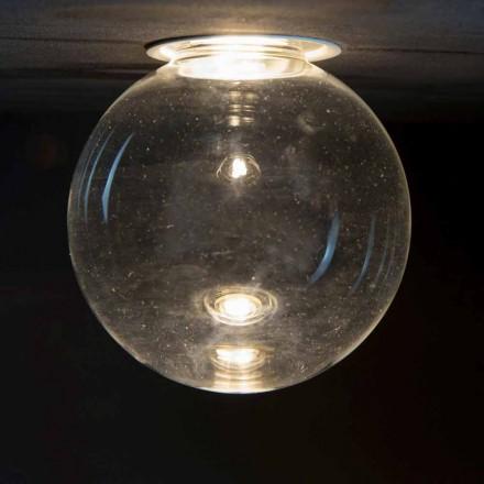 Hliníková zapuštěná lampa s dekorativním sklem vyrobená v Itálii - Ampolla