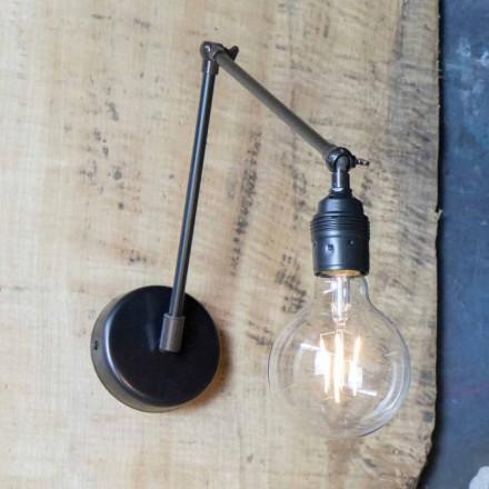 Ručně vyrobená nástěnná lampa z nastavitelného černého železa vyrobeného v Itálii - Ander