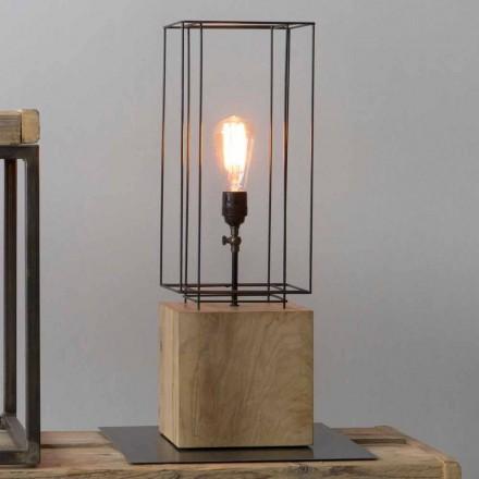 Ručně vyrobená železná stolní lampa s dřevěným podstavcem vyrobená v Itálii - olivovník
