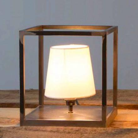 Ručně vyrobená železná stolní lampa se stínidlem vyrobená v Itálii - Cubola