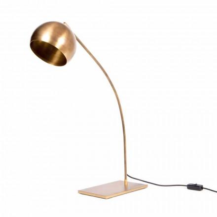 Ručně vyrobená stolní lampa ze železa a leštěné mosazi vyrobené v Itálii - Brina
