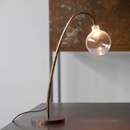 Ručně vyrobená železná stolní lampa zlatá povrchová úprava vyrobená v Itálii - Ribolla