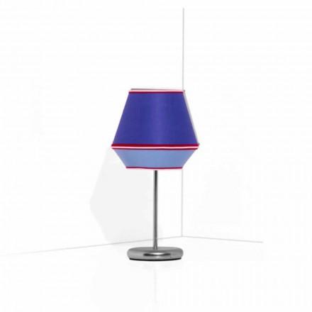 Modrá stolní lampa s pochromovanou kovovou strukturou vyrobená v Itálii - sója