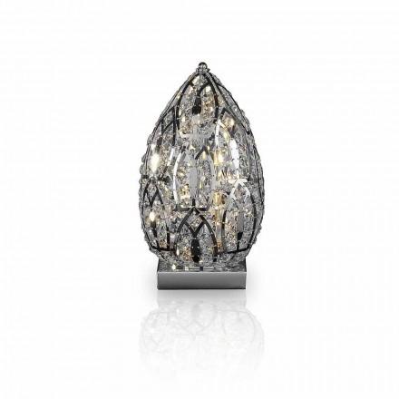 Stolní lampa design v krystalu a oceli ve tvaru vejce vaječný
